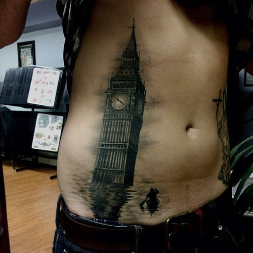 London Clock Tower Stomach Tattoo for Men