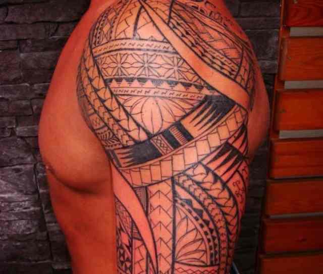 Arm Tattoo Of Polynesian Maori Style For Men