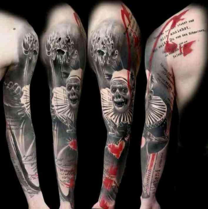 trash polka arm tattoo
