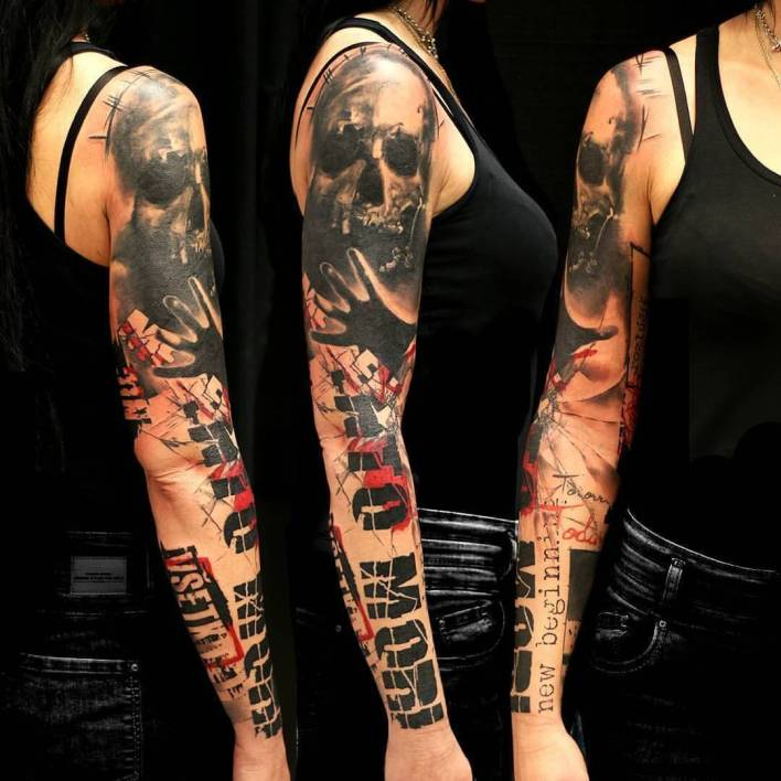 trash polka tattoo on arm