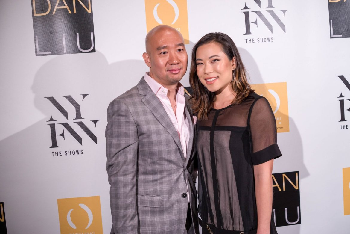 Kasey Ma, influencer and blogger of The StyleWright, meeting designer Dan Liu backstage after his SS'18 Show