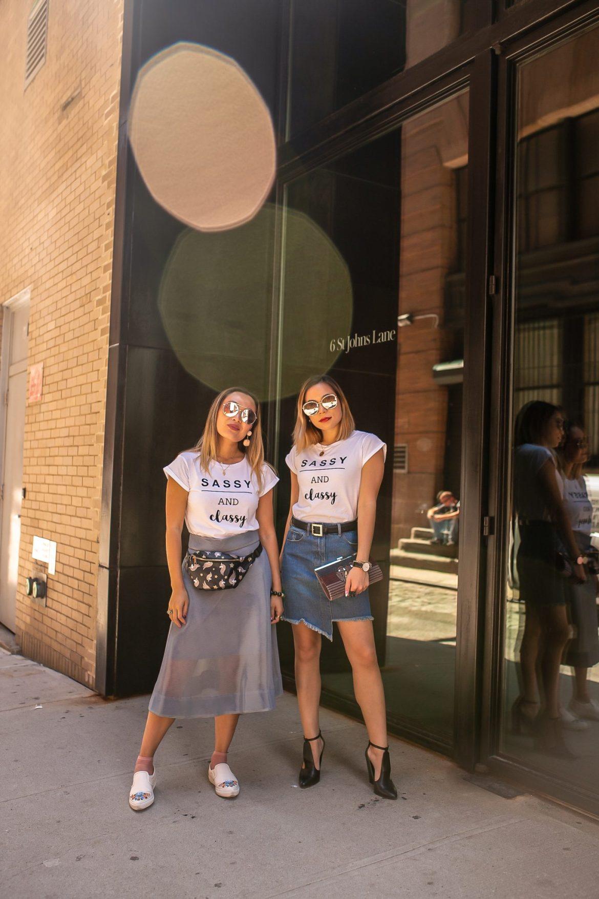 nyfw 2018 New York Fashion Week Carol Viliotti TheStyleWright ISTI Clutch Sugarhigh Denim Skirt White Tee Color bLock Heel Sequin Jewelry Daniel Wellington Yay Sunshine Fashion Blogger Sassy and Classy Logo Tee