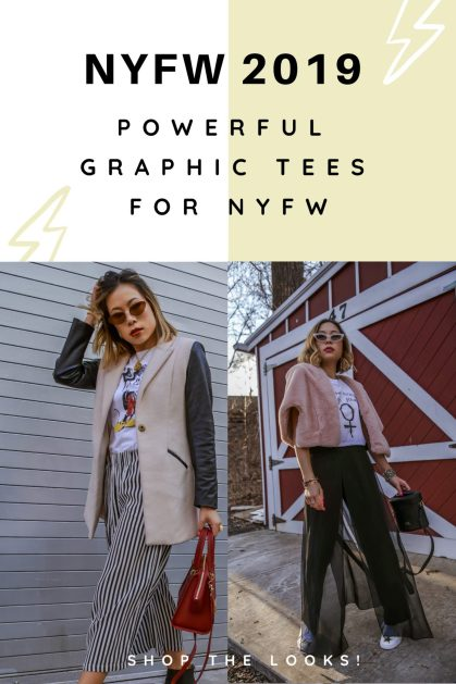 Fashion blogger/influencer Kasey Ma of TheStyleWright pairs a Mother Fucking Girl Power crop white tee by Vibrate Higher with Elie Tahari sheer pants and Shein star white sneakers for New York Fashion Week 2019 day 4 in addition to rocking a Mickey Mouse Tee for his 90th birthday in modern style
