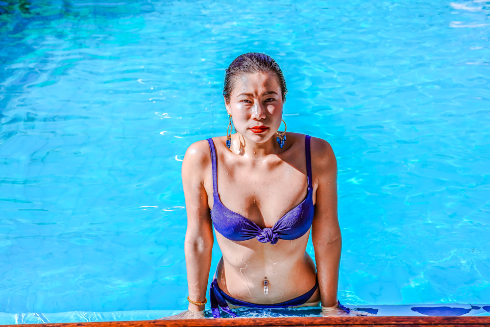 Kasey Ma of The StyleWright Calzedonia Carla Push Up Bikini Top and Bottom In The Pool