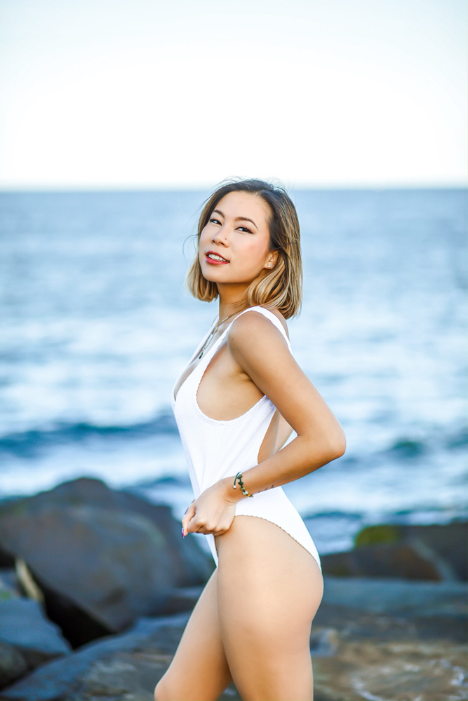 Kasey Ma of The StyleWright Wears Yandy WHITE ONE PIECE SWIMSUIT