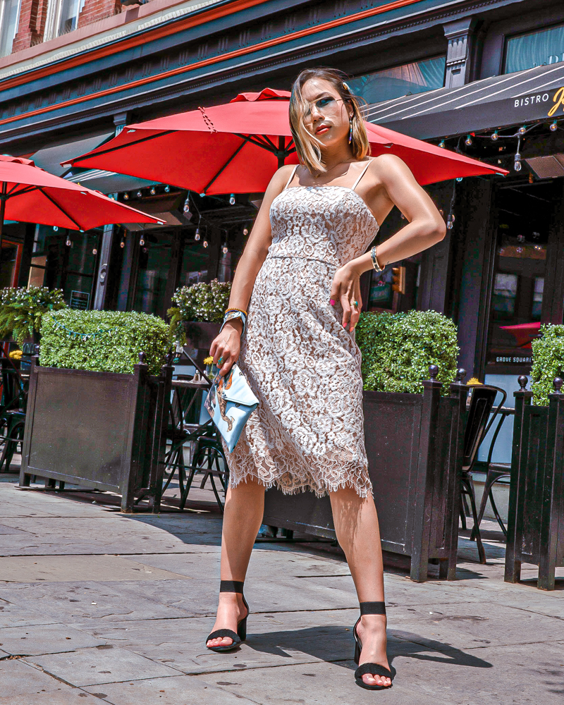 Kasey Ma of The StyleWright Wearing Eliza J Dress Posing on NYC sidewalk
