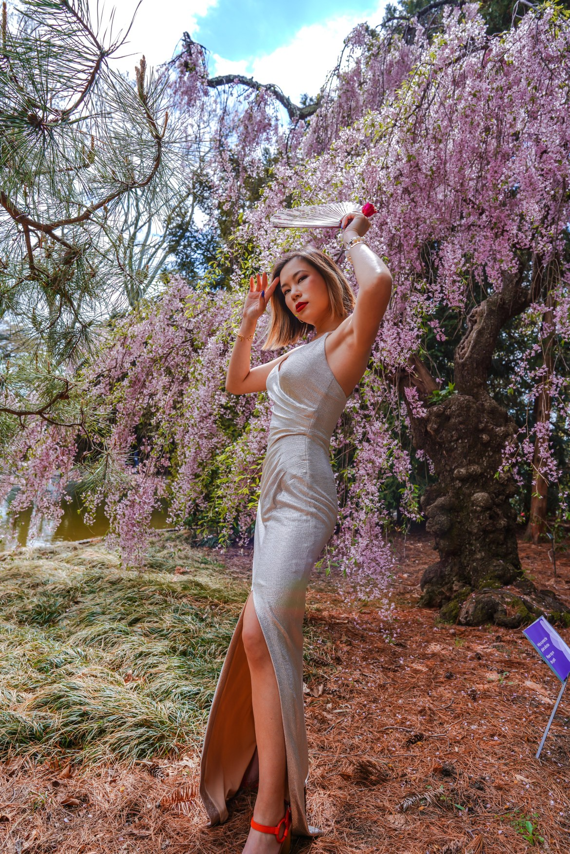 Kasey Ma of The StyleWright Wearing Eliza J Dress Posing by Cherry Blossom Tree