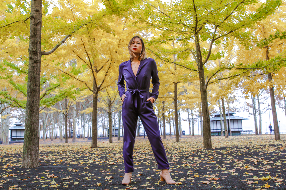 kasey ma of thestylewright wearing blue jumpsuit posing in park
