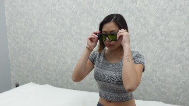 kasey ma of the stylewright wears protective sunglasses for laser treatment
