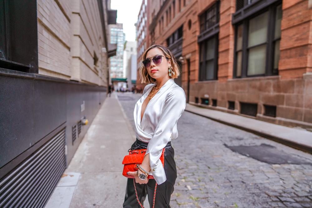 Kasey Ma in Elie Tahari look for New York Fashion Week