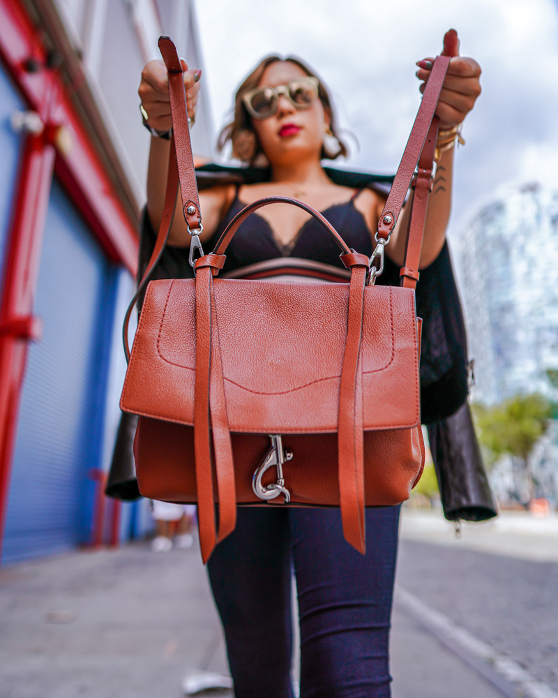 Kasey Ma rocking her Rebecca Minkoff backpack at New York Fashion Week