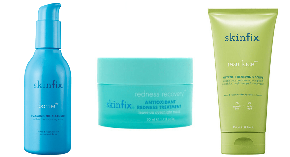 skinfix cleanser, mask, and exfoliant scrub that are a great product to use for a skincare routine