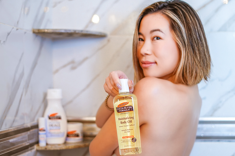 Kasey Ma Showing off her Palmer's Body Oil in the Shower