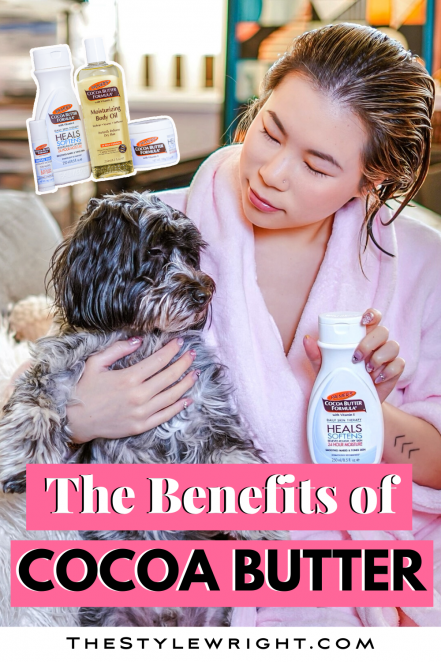 Kasey Ma with her dog Einstein and Nala with a label saying the Benefits of Cocoa Butter