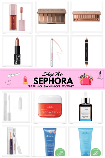 Sephora Sale Pinterest Graphic with photos of Sephora beauty products on sale