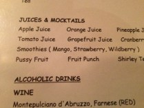 Hmm, one of the juices/mocktails gave me pause.