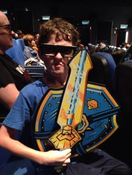Kid is ready for a fight--- with the 4D Movie?? We were soaked, whoops, fast run thru the rain...