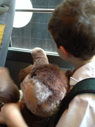 Bear dances on way to school, becomes library mascot.