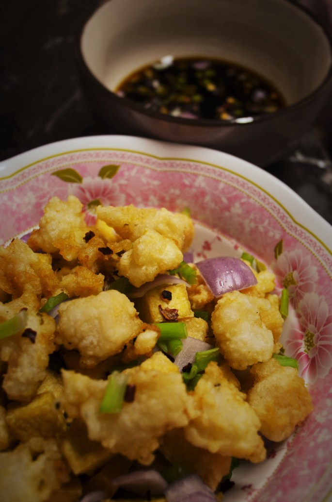 Tofu with Crispy Chicken and Fish
