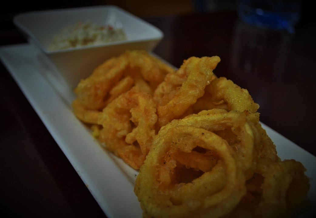 Salt and Pepper Squid Rings with Coleslaw