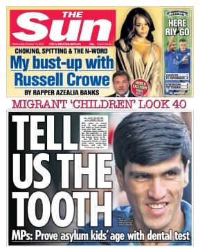 La prima pagina del Sun del 19 ottobre
