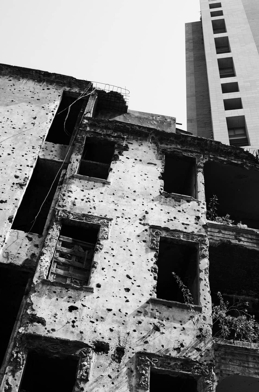 Palazzo di Beirut, con segni risalenti alla guerra civile