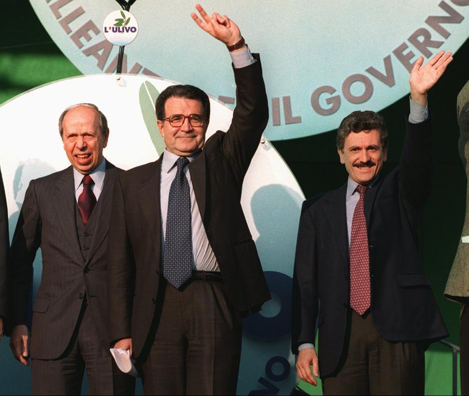 Dini, Prodi e D'Alema nel 1996 / Wikimedia Commons