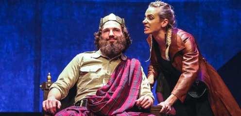 Once he is king, Macbeth sees Banquo not as a friend but as a threat. (Dylan Twiner, Jessica Weaver)