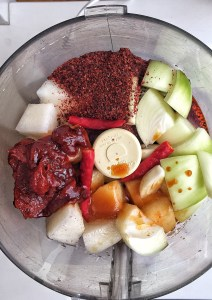 ingredients for fire sauce in food processor bowl