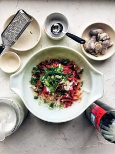 oyster radish kimchi ingredients in bowl