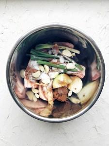 ingredients for Korean bo ssam in instant pot bowl