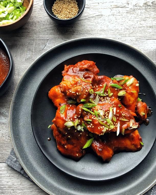 gochujang chicken on a plate
