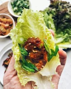 Spicy Korean Pork, lettuce wrap
