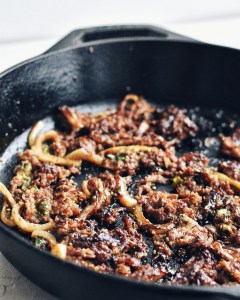 bulgogi in cast iron skillet