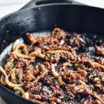 beef bulgogi in cast iron skillet