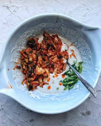 kimchi pancake batter in bowl with spoon