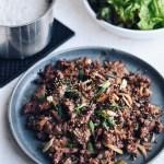 Bulgogi with rice and lettuce