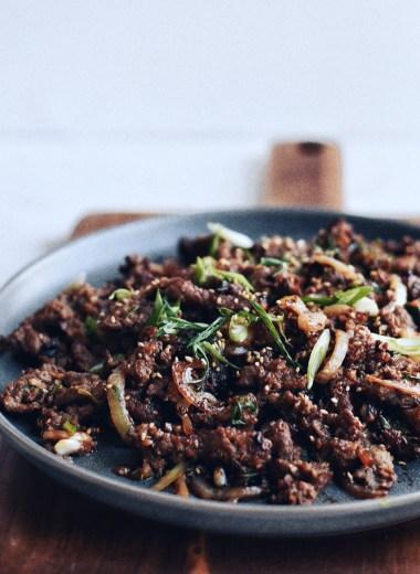 Korean beef Bulgogi on a plate