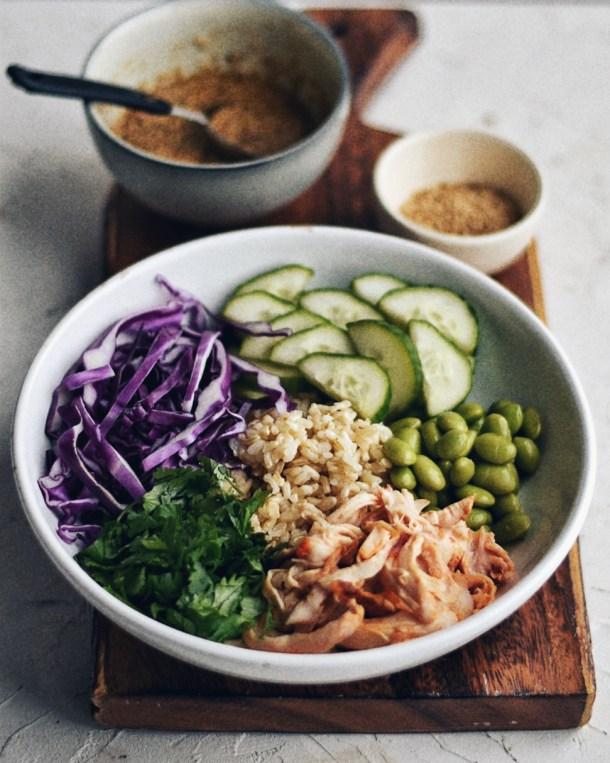 asian rice bowl on cutting board