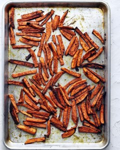 roasted spicy sweet potato fries on sheet pan