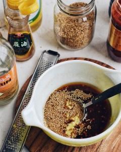 dressing for soba noodle salad in bowl