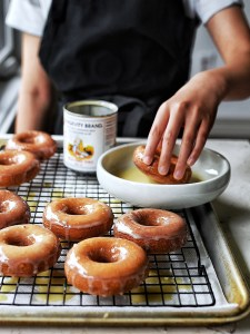 mochi donuts dipped into glaze