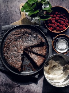Chocolate Espresso Almond Cake on plate with two slices