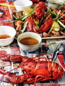 seafood boil on newspapers