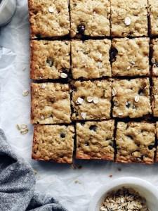 dark chocolate oatmeal bars, close up