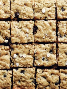 close up of salted dark chocolate oatmeal bars