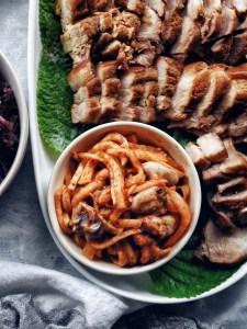bowl of fresh radish kimchi with oysters
