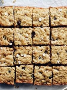 close up of chocolate oatmeal bars