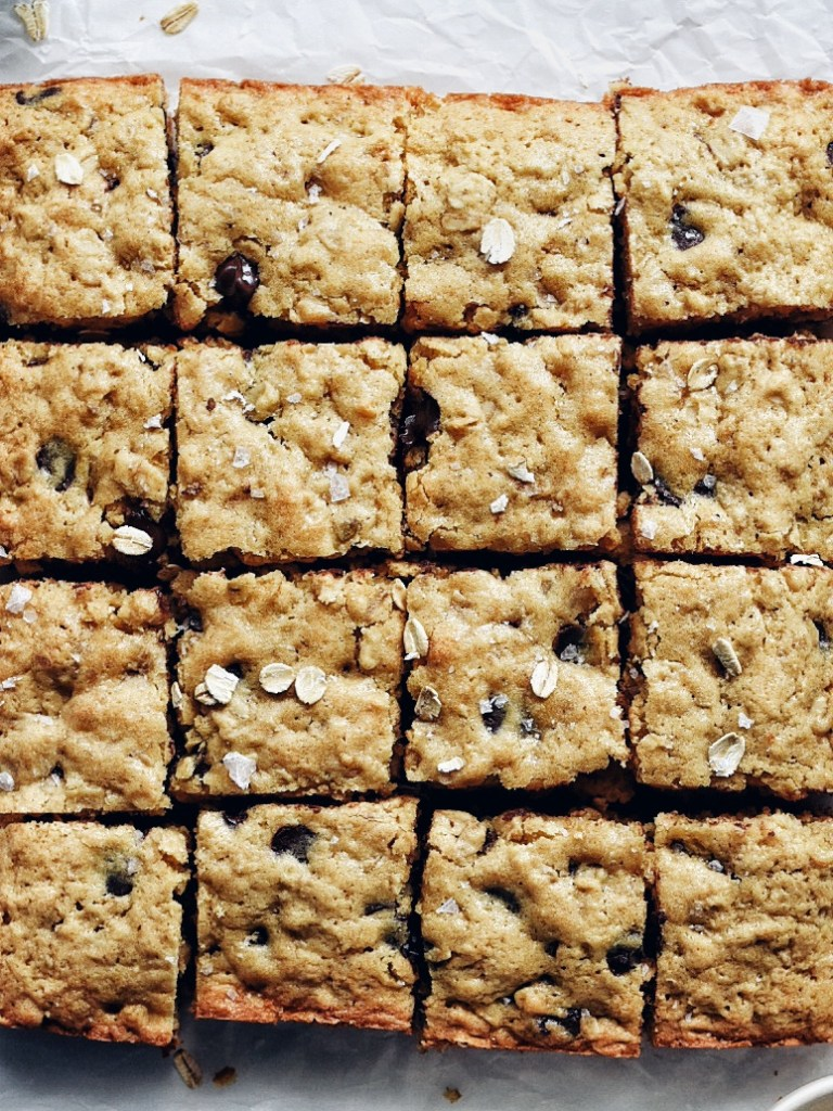 close up of chocolate oatmeal bars