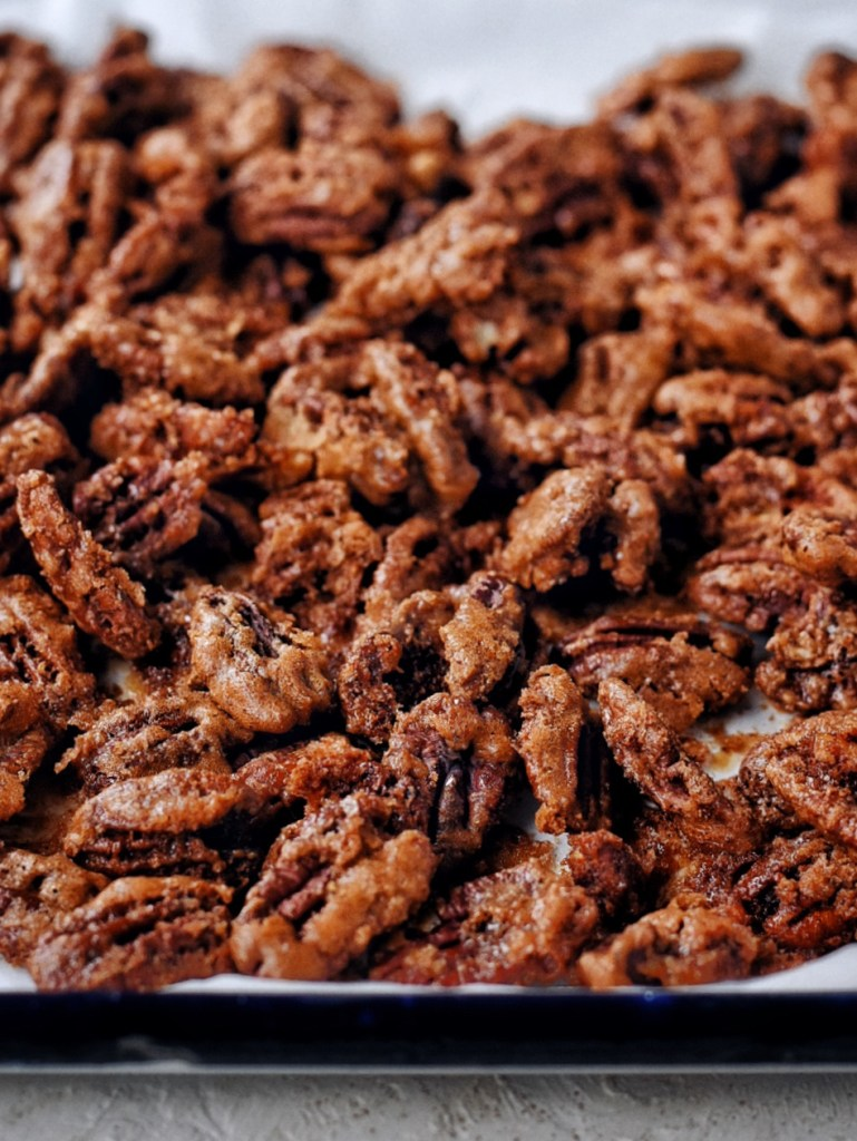 close up of spicy candied pecans